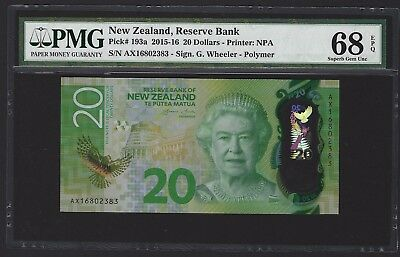 2016 New Zealand $20 Dollars, P-193, PMG 68 EPQ SUPERB GEM UNC RARE GRADE!! QEII