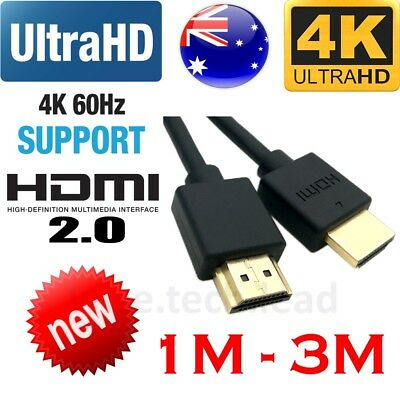 4K Ultra HD Premium HDMI Cable V2.0 3D High Speed Ethernet Gold Plated 1m 2m 3m