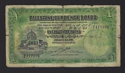 1929 Palestine 1 Pound, P-6b, Scarce Early Date, British Administration