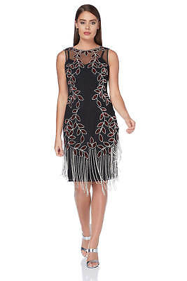 Roman Originals Ladies Embellished Flapper Dress Silver
