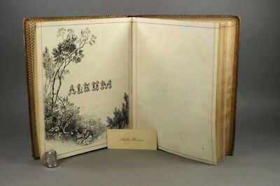 19th Century Purple Leather Scrap Album Albumen Prints A Cowan & Sons Watermark