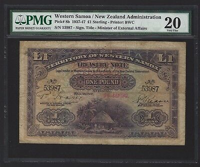 1942 Western Samoa 1 Pound, PMG 20 VF, VERY SCARCE NOTE IN ANY GRADE, P-8b