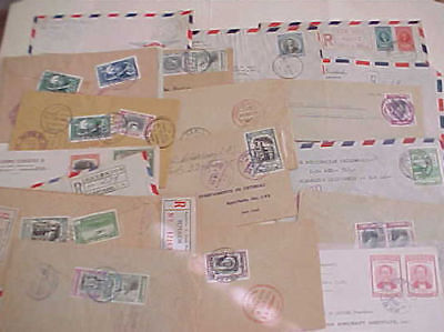 COSTA RICA  25 REGISTERED SMALL COVERS 1950's MOSTLY TO USA