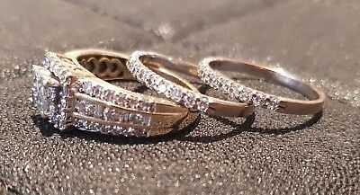 3 Ring Set 14ct Yellow Gold 1ct Diamonds Engagement 9ct White Wedding & Eternity