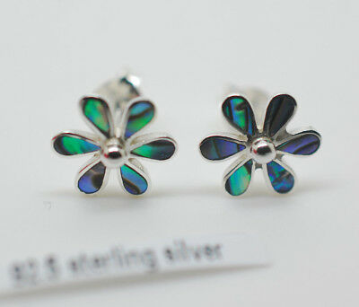 Unusual Pretty Solid Silver Daisy Flower Shell Abalone Stud Earrings