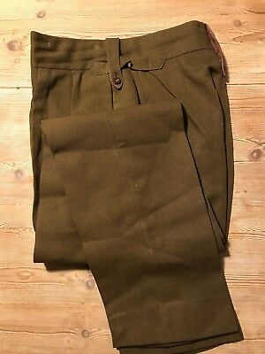 Vintage WW2 green bespoke officers trousers  size 32 34