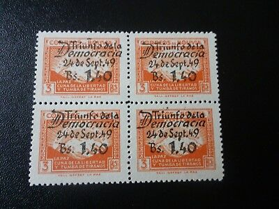 Stamps: Bolivia 1949 Block of 4 NHM