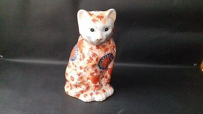 Large Oriental Imari Pattern Seated Cat, Red Signature Marks To Base (1)