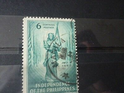 Stamps: Philipines 1946 Independence 6c green fine used