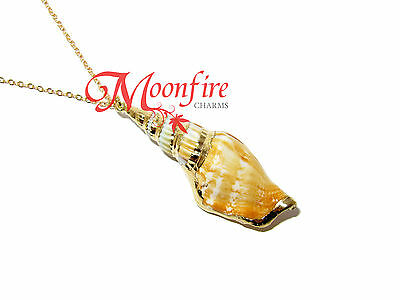 Moana Inspired Seashell Pendant Necklace Gold-Plated Gold Rimmed Beautiful