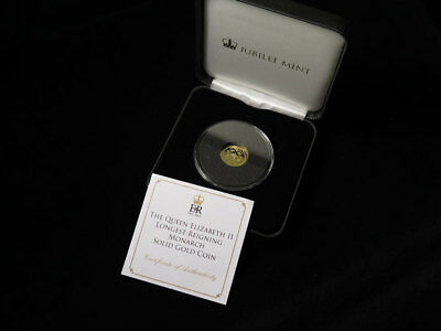 Jubilee Mint The QEII Longest-Reigning Monarch 9ct Gold Coin 1g 2015