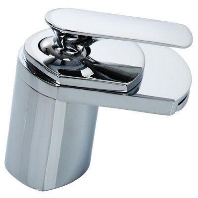 Waterfall Sink Mono Water Mixer Tap Bathroom Basin Square Stainless Steel E T9W3