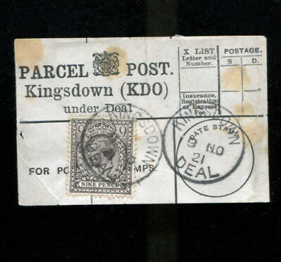 Kingsdown  Under Deal Kent Parcel Post Label 1921