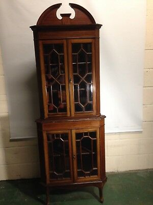 Mahogany Inlaid Corner Display Cabinet Astragal Glazed With Bevelled Glass