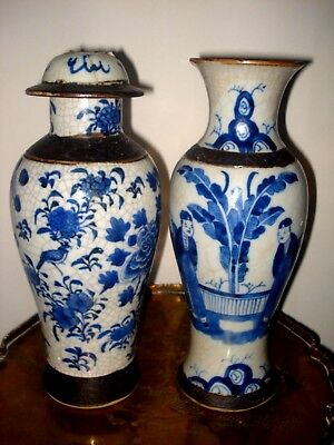 2xstunning chinese 19th century qing blue white   vases