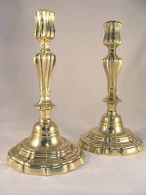 Unique Pair Antique French Brass Bronze Regence Candlesticks 18th.C.
