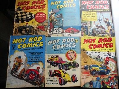 6 x Hot Rod Comics No's 1, 2, 3, 4 , 5, 6 from 1951 & 1952 very good condition