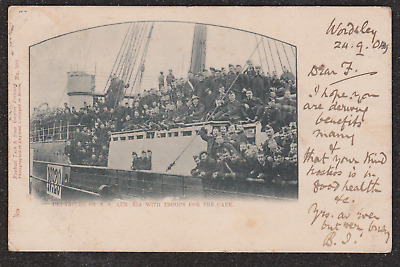 1903 S.s Aurania Boer War Transport Ship Postcard Soldiers On Board For The Cape