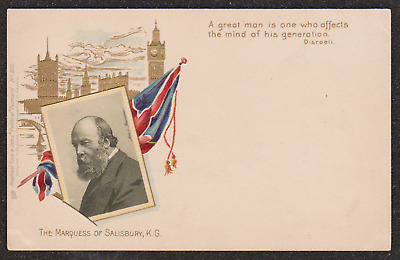 1900 Marquess Of Salisbury Prime Minister Embossed Postcard Houses Of Parliamen