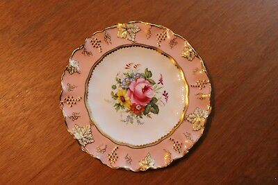 "Vintage Royal Crown Derby 8.5"" Vine Plate Hand painted with Flowers, signed."