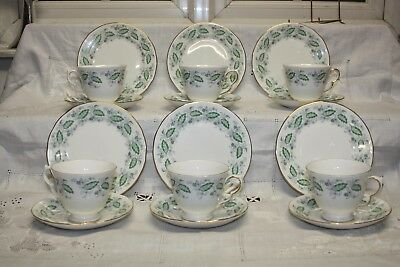 Lovely vintage Queen Anne China Trios X 6 Green Leaves Tea Set Pat. No 8603