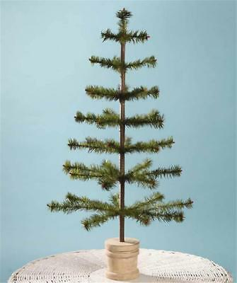 "Bethany Lowe 30"" Olive Green Feather Christmas Tree, Spool Base"
