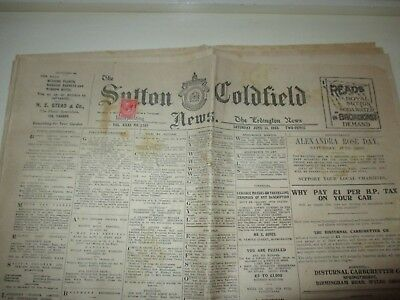 THE SUTTON COLDFIELD NEWS JUNE 16th 1923 WITH GEORGE V PENNY RED STAMP ON FRONT