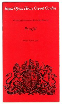 1980 Royal Opera House Covent Garden programme, Parsifal, Solti, Moll, Minton.
