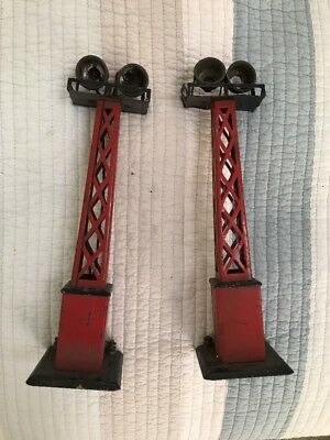 Pair Of Marx o scale 416 Light Towers One Good, One For Parts Or Repair