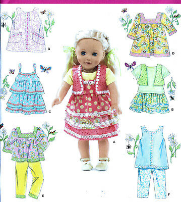 """18"""" AMERICAN GIRL DOLL Modern Clothes Simplicity 2296 UNCUT Sewing Pattern NEW"""