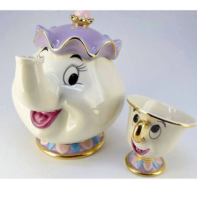 Hot Beauty &The Beast Teapots Mugs Mrs. Potts Chip Tea Pot and Cup Sugar Set
