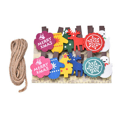 Set of 12 Christmas Snowman  Wooden Pegs Paper Photo Clip with linen string NB