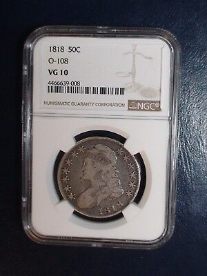 1818 Capped Bust Half NGC VG10 OVERTON 108 50C Coin Auction Starts At 99 Cents!