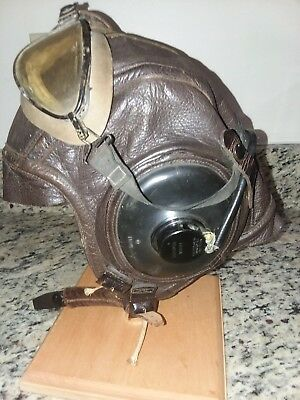 Flying Helmet, leather, WWII USN, AN-6543 with goggles and headphones.