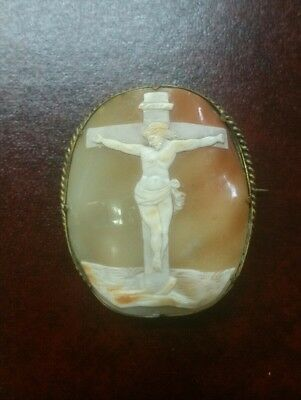 Large Antique Estate Shell Cameo Brooch of Jesus Christ on the Cross - Religious