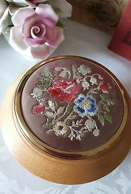 Vintage Wooden Turned Bowl Trinket Silk Embroidery Cabbage Roses