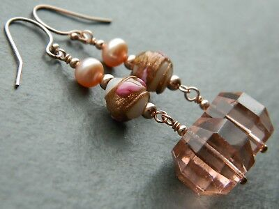 Art Deco Pink Glass & Wedding Cake Beads, FW Pearls & Rolled Rose Gold Earrings