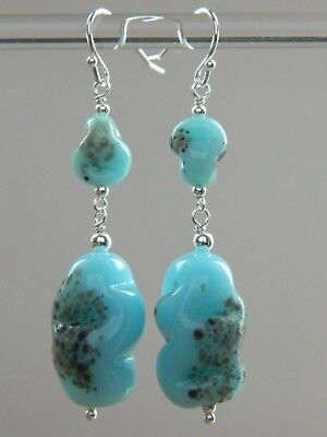 "Vintage MURANO Blue & Aventurine ""End of Day"" Glass Beads & 925 Silver Earrings"