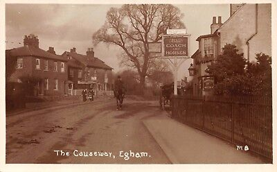 Surrey Egham The Causeway Road The Coach & Horses Pub Man On Horse Photo Card
