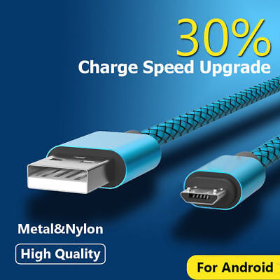 1/3M Fast Charging Metal Heavy Duty Braided Micro USB Data Sync Charger Cable