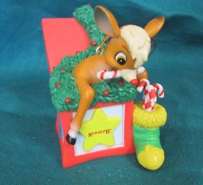 """1998 Rudolph Co. Plastic Rudolph in Gift Christmas Ornament 2"""""""
