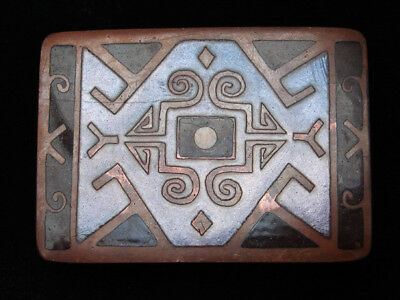 QB07164 VINTAGE 1970s **TRADITIONAL** SOUTHWESTERN DESIGN ART SOLID BRASS BUCKLE