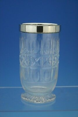 Heavy Sterling Silver & Cut Glass Celery Vase - London 1934