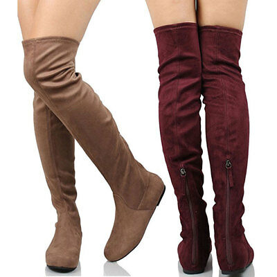 c9c759ed4fa3 Tone Women Round Toe Comfort Casual Slouchy Knee High Flat Boots Faux Suede