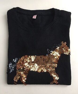 M&S Girl's Black Jumper With Gold Sequin Horse* Age 5-6 Years* Used