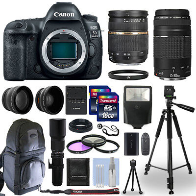Canon EOS 5D Mark IV DSLR Camera + 5 Lens Kit 28-75mm + 75-300mm + 24GB & More