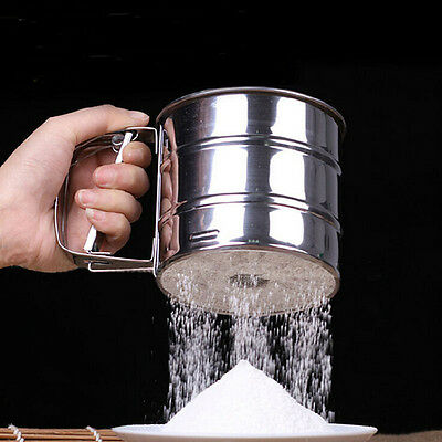 Mechanical Flour Sugar Icing Mesh Sieve Sifter Shake Baking Stainless Steel SW