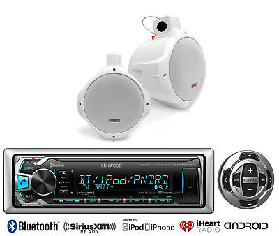 "Kenwood USB For iPod Bluetooth Marine Radio/Remote, 8"" White Wakeboard Speakers"