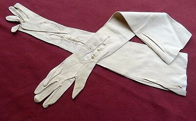 An Antique Pair of French Cream Kid Leather Long Gloves