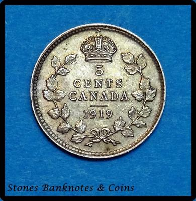 Canada 5 Cents Coin~1919 George V~.925 Silver 1.5g~KM#22~XFine~#315